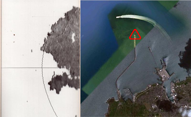 Figure 3. Holyhead Pier with an enlarged Google Earth image (including a High Speed Ferry.)